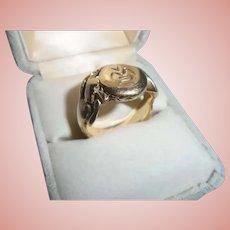 Men's  Chunky 14K Gold Art Nouveau Female Figural Antique Ring Size 9.5