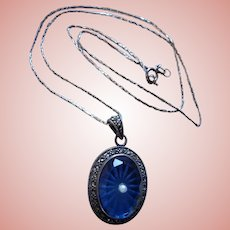 Gorgeous Blue Camphor Glass 925 Sterling Silver Pendant Necklace Marcasites Cultured Pearl