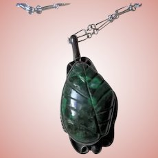 Sterling Navajo Green Turquoise Carved Leaf Motiff Pendant Necklace Silver
