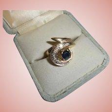 14K Gold ~ Diamond ~ Sapphire Modernist Ring Size 6