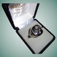 18K Gold Antique Elks Chunky Genuine Diamond White Gold Men's Ring Size 11