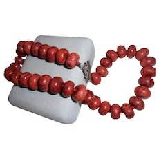 Graziano New York Designer Red Jasper Chunky Beaded Necklace with Toggle Clasp