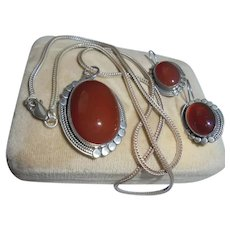 Sterling Silver Carnelian Navajo Pendant Necklace and Earrings Set