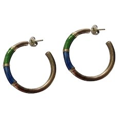 Vintage Sterling Silver Denim Blue & Grass Green Enamel Hoop Earrings