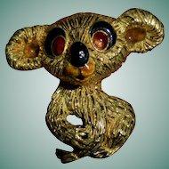 Solid 18K Gold Italy Mid-Century Koala Teddy Bear Brooch Fur Clip