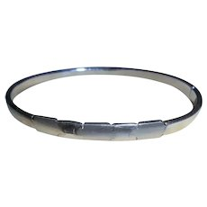 Italy 14K White Gold Geometric Clamper Cuff Bangle Bracelet