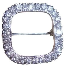 Platinum & 27 Diamond Geometric Shaped Brooch Pin TCW 1.10