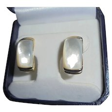 14K Gold & Mother-of-Pearl Semi-Half Hoop Chunky Omega Back French Hallmark Earrings Clip