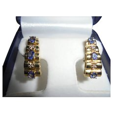 14K Gold Diamond & Tanzanite Omega Back Clip Earrings Stacked Geometric Design