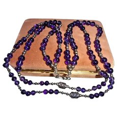 Solid Sterling Silver and Amethyst Beaded Chunky Necklace Double Strand