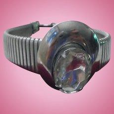 Space Age Modernist Metal & Rhinestone Bracelet Mid-Century-Mod