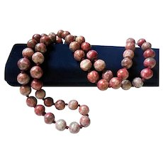 """Gorgeous 12mm Rhodocrosite Hand-Knotted Beaded Necklace 32"""" inch Sautoir"""