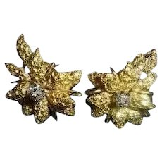 18K Diamond Black Starr & Frost Couture Omega Back Floral ~ Orchid Flower Earrings Signed