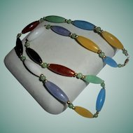 14K Gold & Gemstone Necklace Carnelian Jade Amethyst Blue Topaz