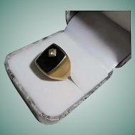 8K Gold Onyx & Diamond Signet Ring Size 8 Vintage Art Deco