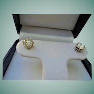 TCW 1.40 Diamond Solitaire Round Brilliant Cut Post Stud Earrings 14K White Gold