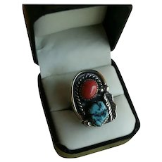 Gorgeous Navajo Squash Blossom Ring Signed Mar.  Ly Turquoise Red Coral Size 6
