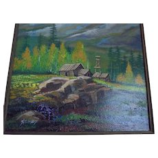"""Leadville"" Colorado ~Student of John Sloan ~ Santa Fe Artist John Stoumbis ~ Rocky Mountains Landscape Oil Painting"