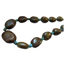 Olive Green & Blue Turquoise Chunky Beaded Necklace Sterling Silver Toggle Clasp