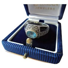 Sterling Silver Blue Topaz Onyx & Marcasite Ring Size 8