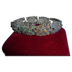 Art Deco Era Silver Filigree Crystal Rhinestone Link Bracelet