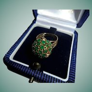 Fabulous 14K Gold Genuine Natural Emerald Cocktail Ring Size 4 Domed Bee-hive