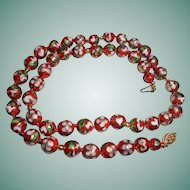 14K Gold & Red Cloisonne Hand-Knotted Beaded Necklace 8mm Floral