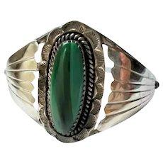 Sterling Silver & Malachite Navajo Cuff Bracelet Native American Small Wrist