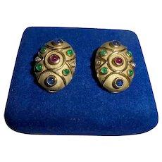 14K Gold Diamond Ruby Emerald Sapphires Omega Clip Earrings