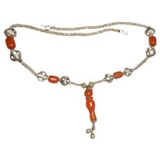 Antique Carnelian & Silver Middle Eastern Lotus Seed Amulet Necklace