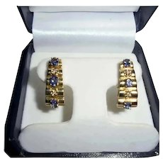 14K Gold Diamond & Tanzanite Omega Back Clip Earrings Stacked Geometric Design