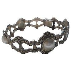 Sterling Silver Marcasite Cultured Pearl Bracelet