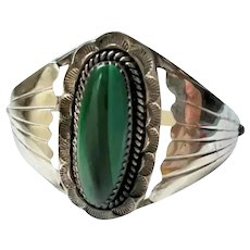 Sterling Silver & Malachite Navajo Cuff Bracelet Native American Small Wrist