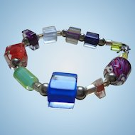 Modernist Encased Lucite / Glass 1970's Bracelet