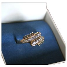 14K Gold Diamond & Aquamarine Ring Modernist Mid-Century Size 8.25