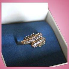 14K Gold Diamond & Blue Topaz Ring Modernist Mid-Century Size 8.25