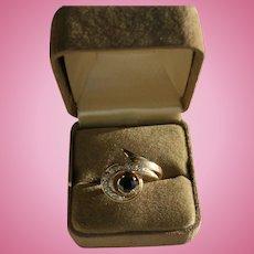 14K Diamond & Sapphire Mid-Century Modern Ring Size 6 1/2 Ten Diamonds MCM