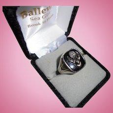 18K Gold Huge Antique Elks Diamond White Gold Men's Ring Size 11