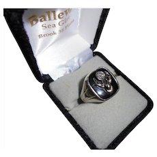 18K Gold Huge Antique Elks Genuine Diamond White Gold Men's Ring Size 11