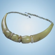 Hi End Blonde Horn Chunky Monies Style Necklace