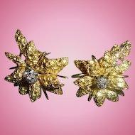 18K Diamond Black Starr & Frost Omega Back Floral ~ Flower Motiff Earrings