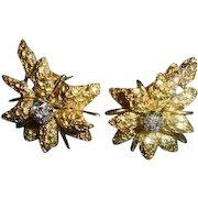 18K Diamond Black Starr & Frost Omega Back Floral Motiff Earrings