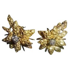 18K Diamond Black Starr & Frost Couture Omega Back Floral ~ Poinsettia Motiff Earrings Signed