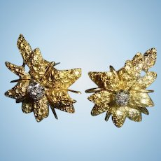 18K Diamond Black Starr & Frost Omega Back Floral ~ Flower Motiff Earrings