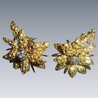 18K Diamond Black Starr & Frost Couture Omega Back Floral ~ Christmas  Poinsettia Motiff Earrings Signed