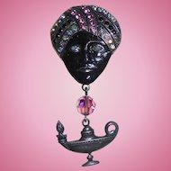 Vintage Genie & Lamp Rhinestone Dangling Brooch Blackamoor