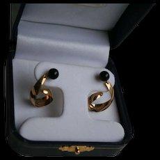 14K Gold Napco Genuine Onyx Dangling Pierced Earrings - Red Tag Sale Item