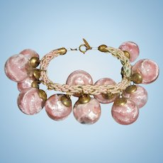 Rare Miriam Haskell Bauble Pink Encased Celluloid Cha-Cha Charm Bracelet