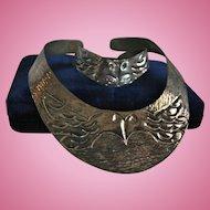 Kissing Birds Silver-tone Hammered Collar Necklace & Bracelet Set