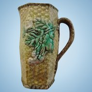 Antique 19th Century English Majolica Basket Weave Pitcher Flower Cabbage Leaf